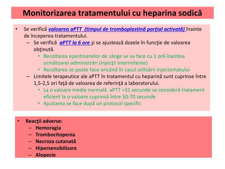 Monitorizarea tratamentului cu heparina sodică