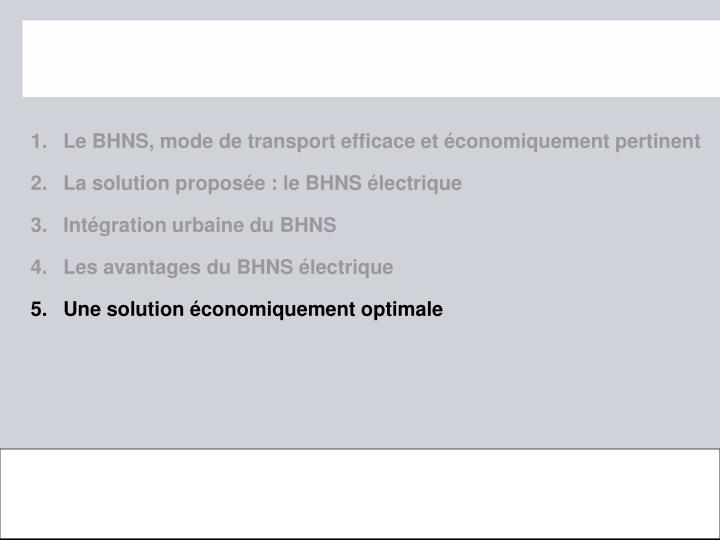 Le BHNS, mode de transport efficace et conomiquement pertinent