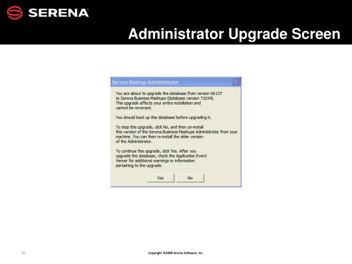 Administrator Upgrade Screen