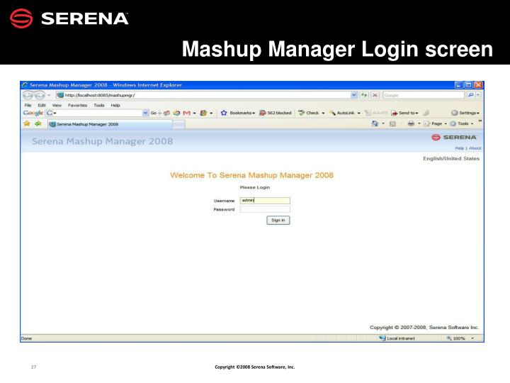 Mashup Manager Login screen