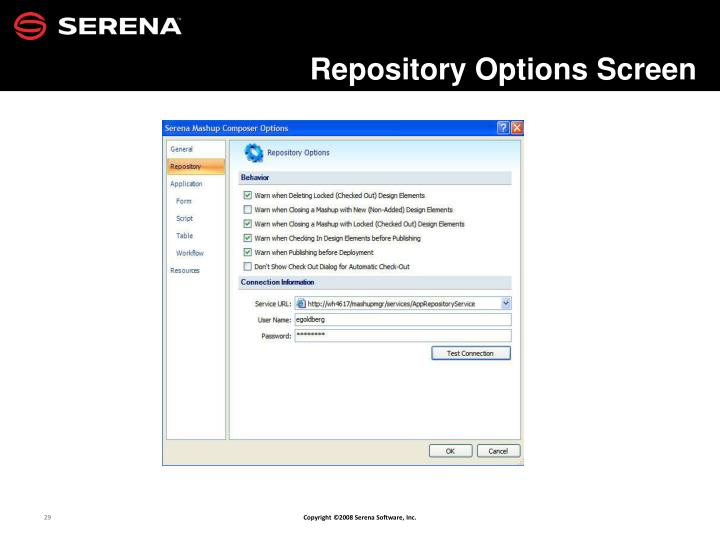 Repository Options Screen