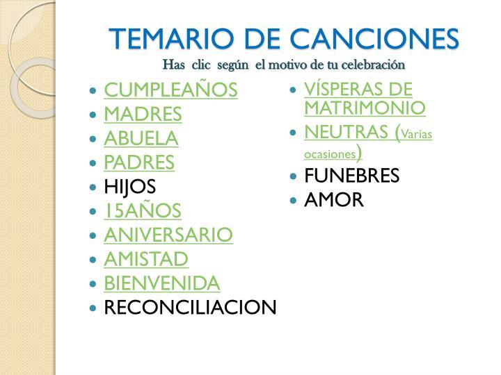 TEMARIO DE CANCIONES