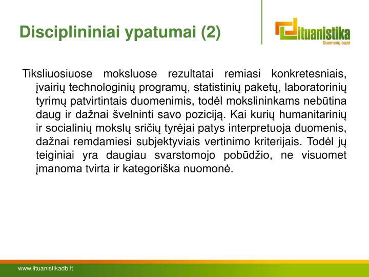 Disciplininiai ypatumai (2)