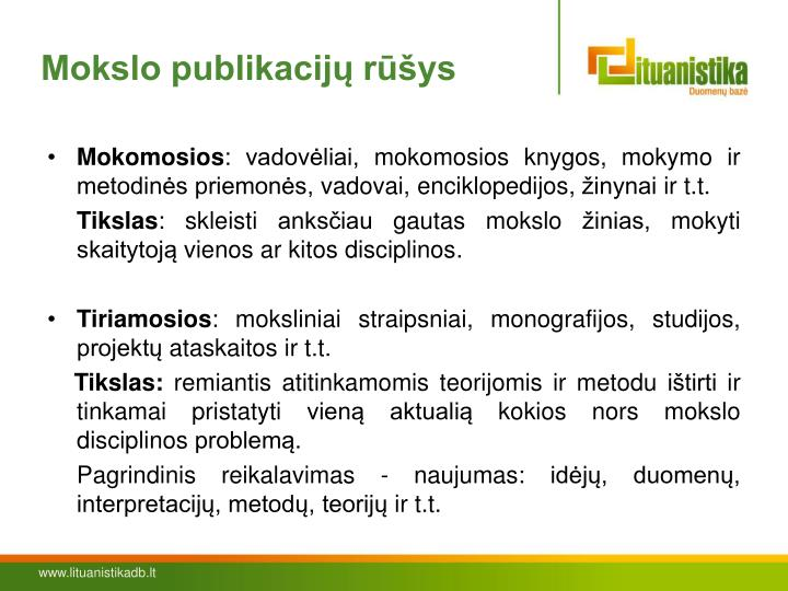 Mokslo publikacijų rūšys