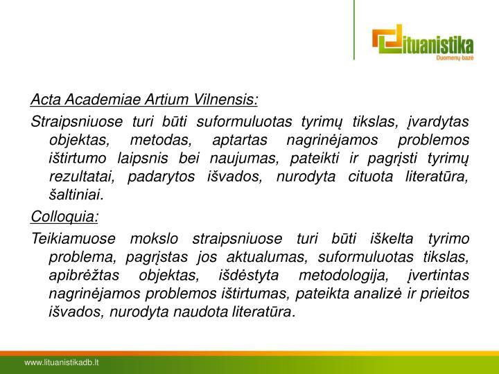 Acta Academiae Artium Vilnensis: