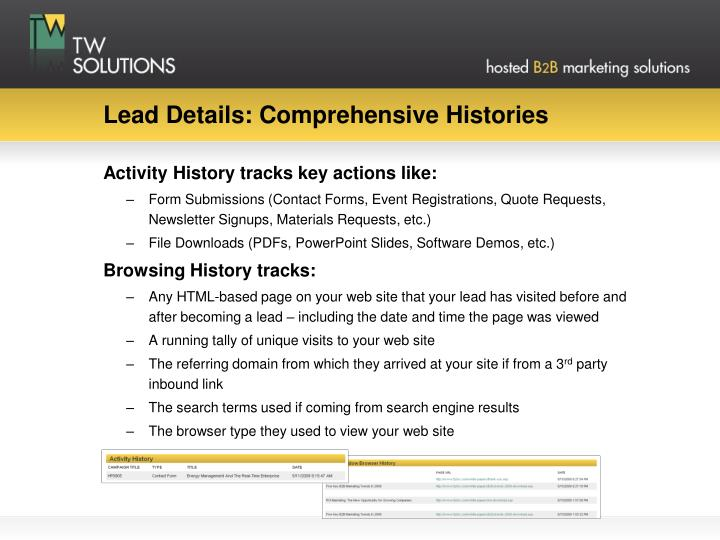 Lead Details: Comprehensive Histories