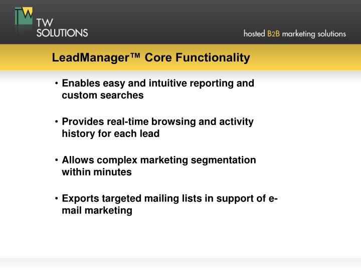 Leadmanager core functionality