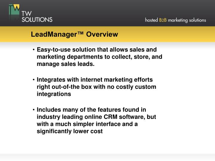 Leadmanager overview