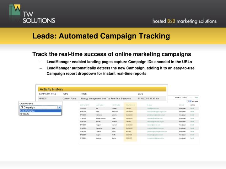 Leads: Automated Campaign Tracking