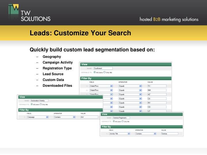 Leads: Customize Your Search