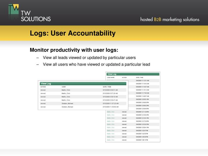 Logs: User Accountability
