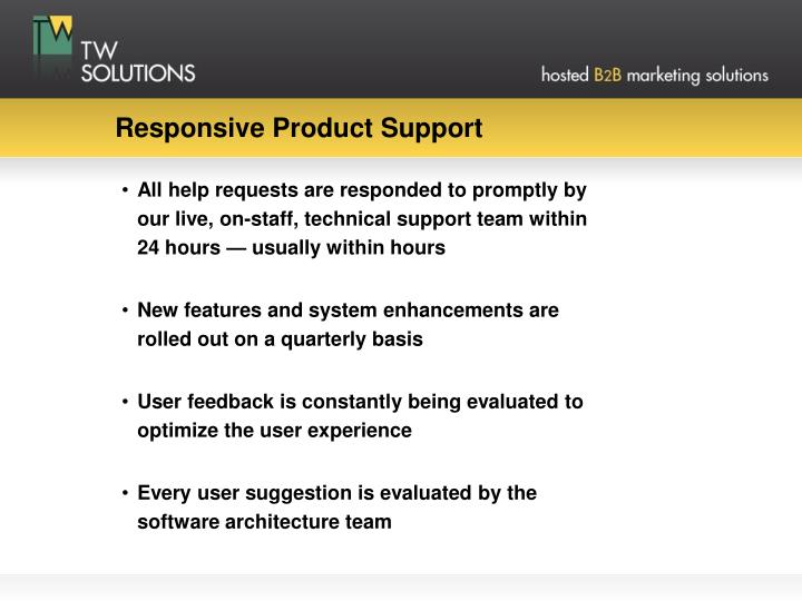 Responsive Product Support