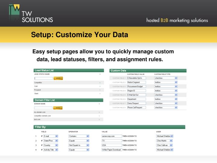 Setup: Customize Your Data