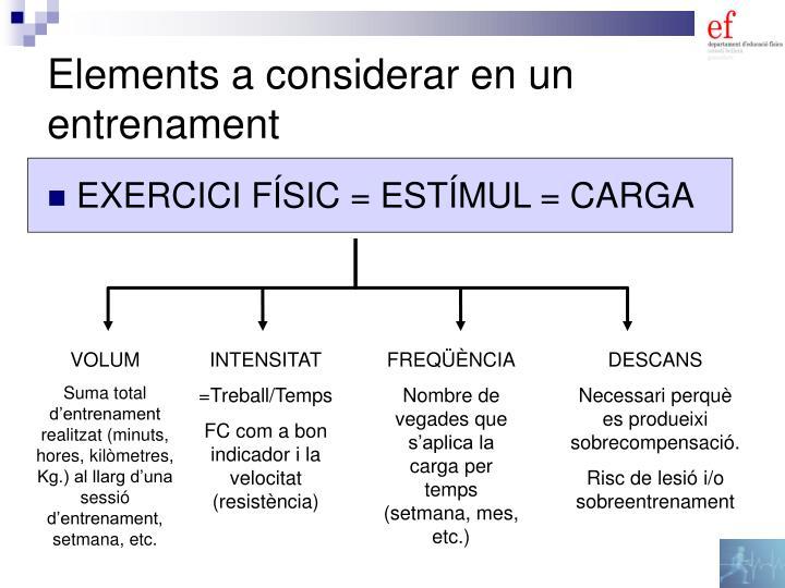 Elements a considerar en un entrenament