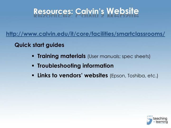 Resources: Calvin's
