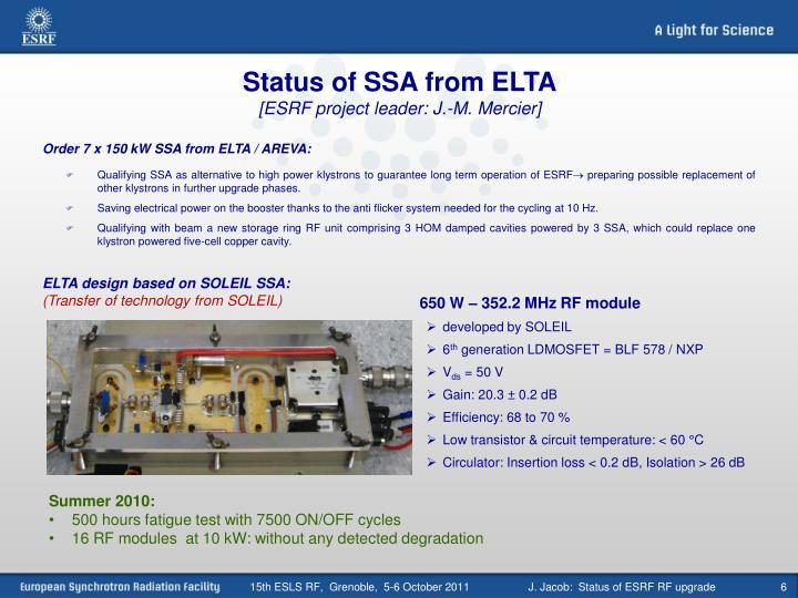 Status of SSA from ELTA