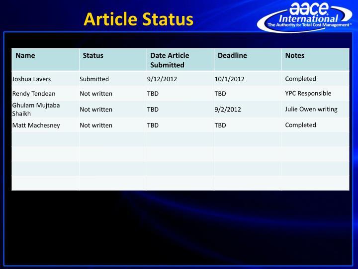 Article Status
