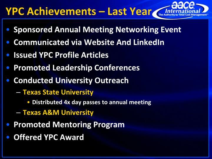 YPC Achievements – Last Year