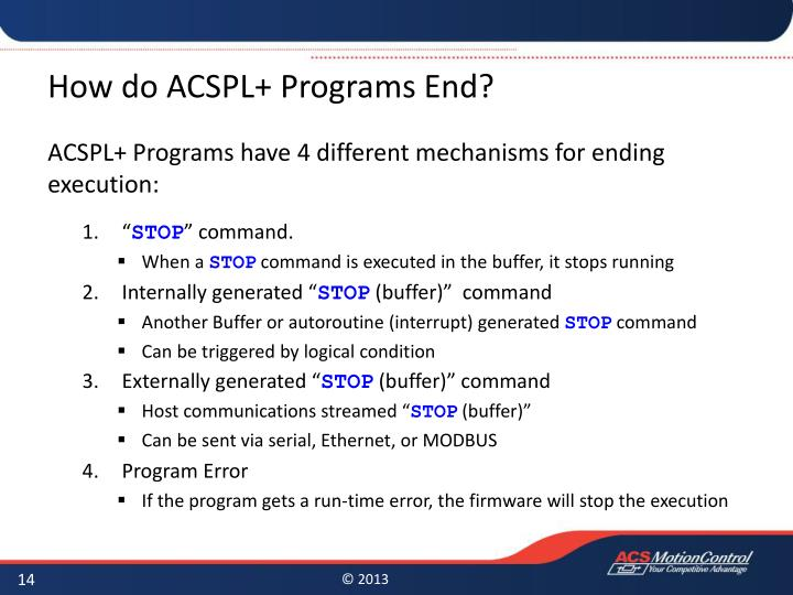How do ACSPL+ Programs
