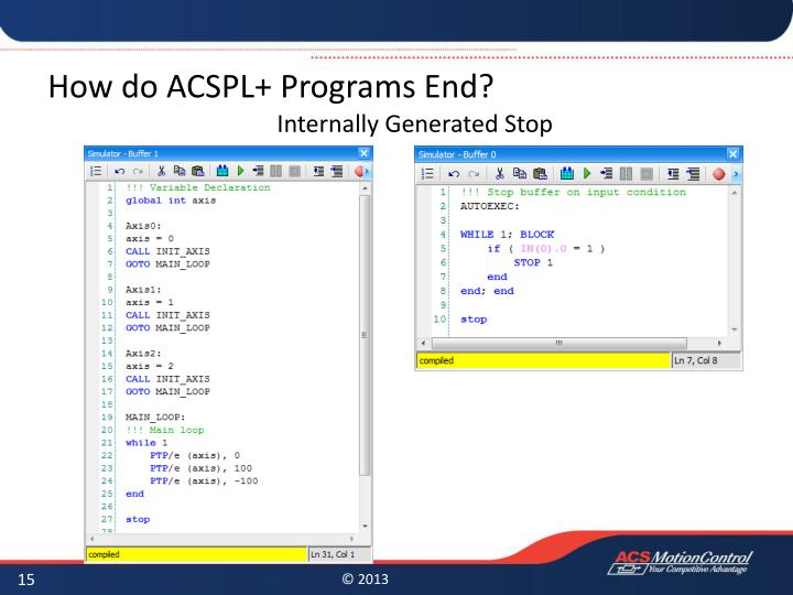 How do ACSPL+ Programs End?