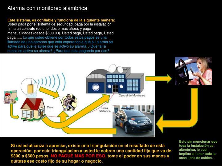 Alarma con monitoreo alàmbrica