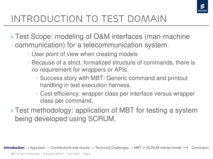 Introduction to test domain