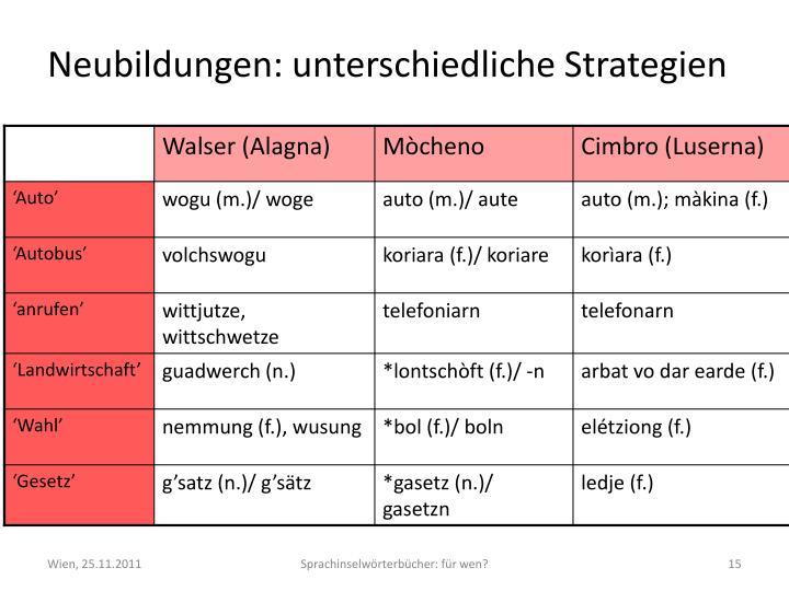 Neubildungen: unterschiedliche Strategien