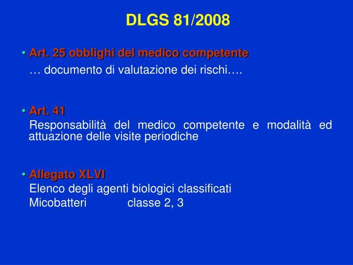 Art. 25 obblighi del medico competente