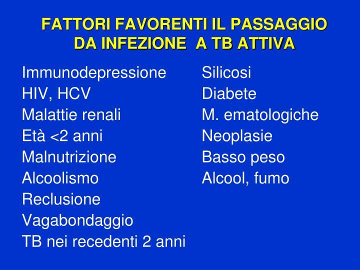 FATTORI FAVORENTI IL PASSAGGIO DA INFEZIONE  A TB ATTIVA