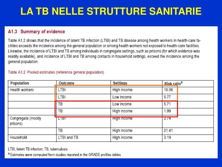 LA TB NELLE STRUTTURE SANITARIE