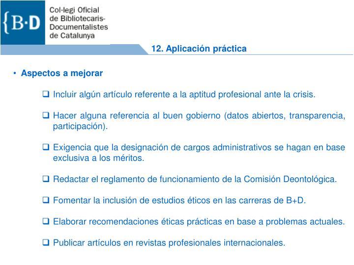 12. Aplicación práctica