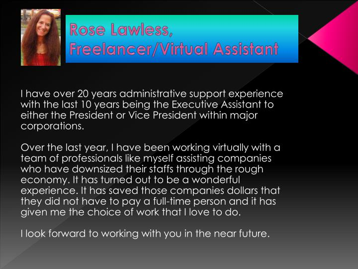 Rose lawless freelancer virtual assistant