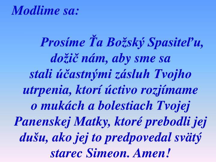 Modlime sa: