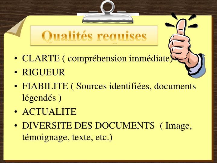 Qualités requises
