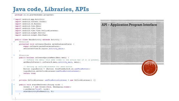 Java code, Libraries, APIs