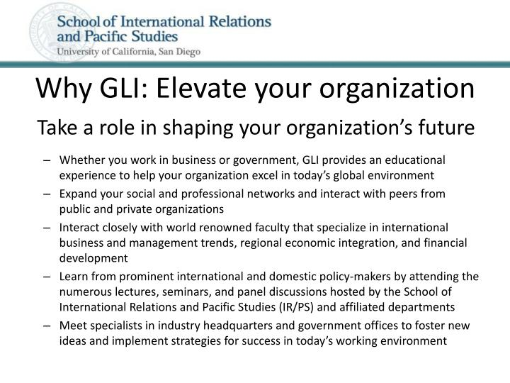 Why GLI: Elevate your organization