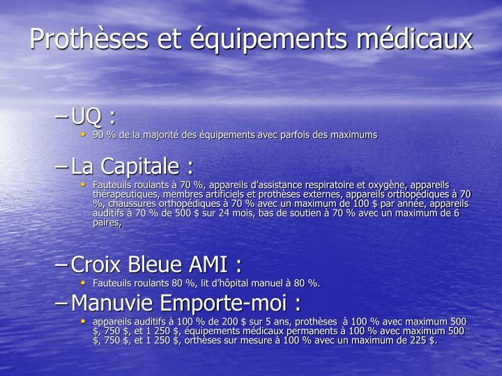 Prothèses et équipements médicaux