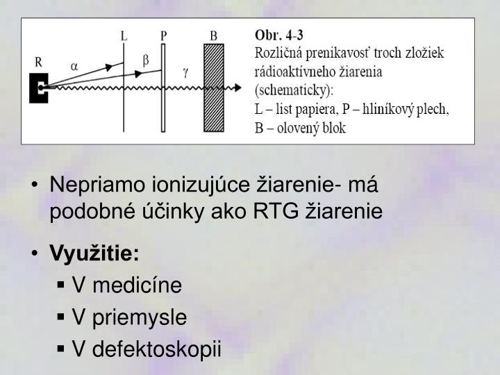 Nepriamo ionizujúce žiarenie- má podobné účinky ako RTG žiarenie