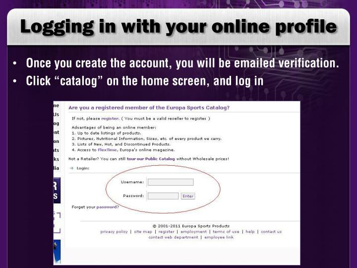 Logging in with your online profile