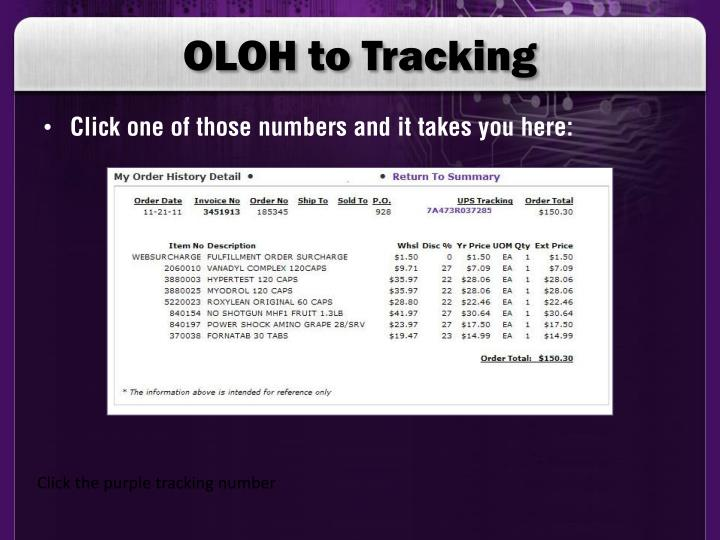 OLOH to Tracking