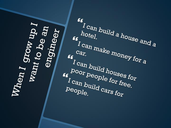 I can build a house and a hotel.
