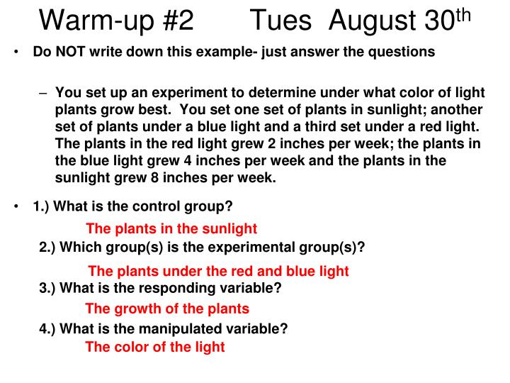 Warm-up #2       Tues  August 30