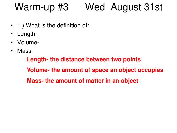 Warm up 3 wed august 31st