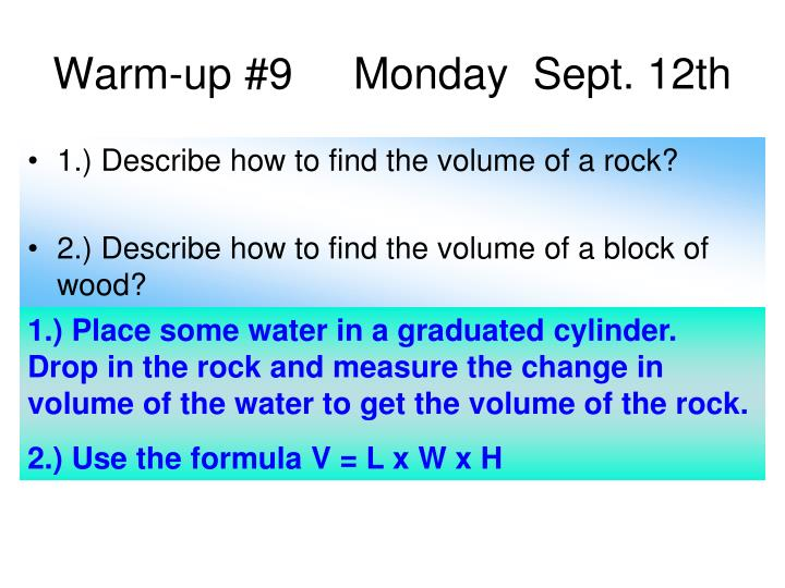 Warm-up #9     Monday  Sept. 12th
