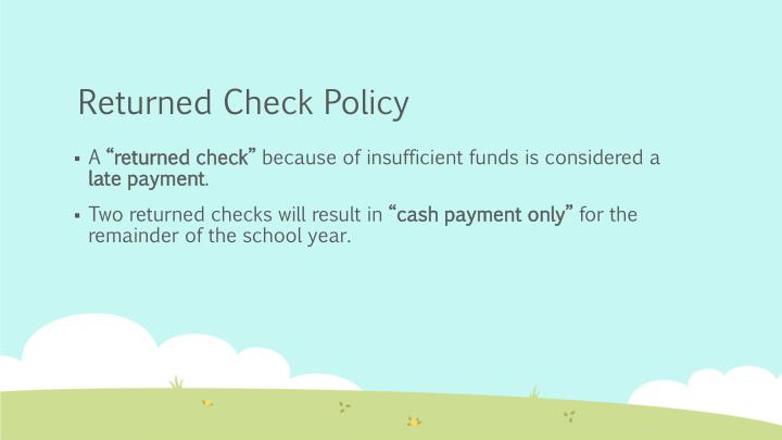 Returned Check Policy
