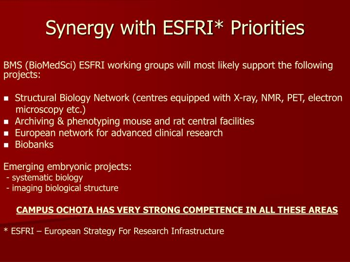 Synergy with ESFRI