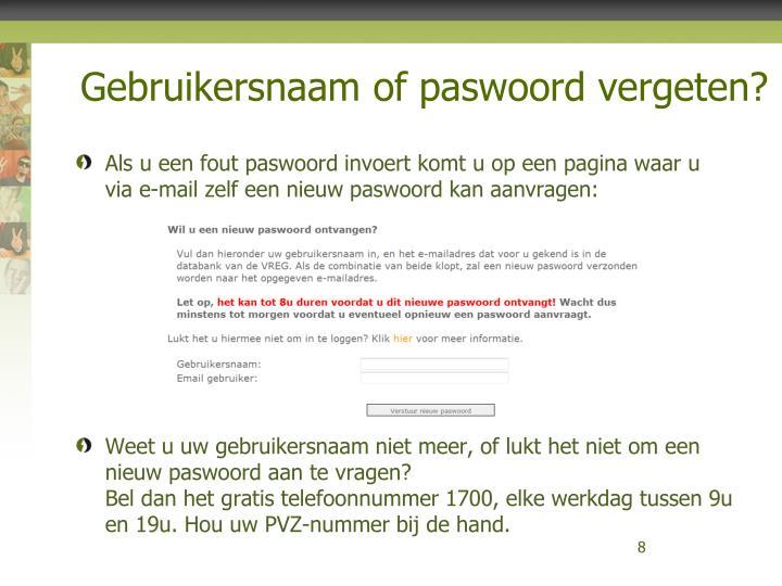 Gebruikersnaam of paswoord vergeten?