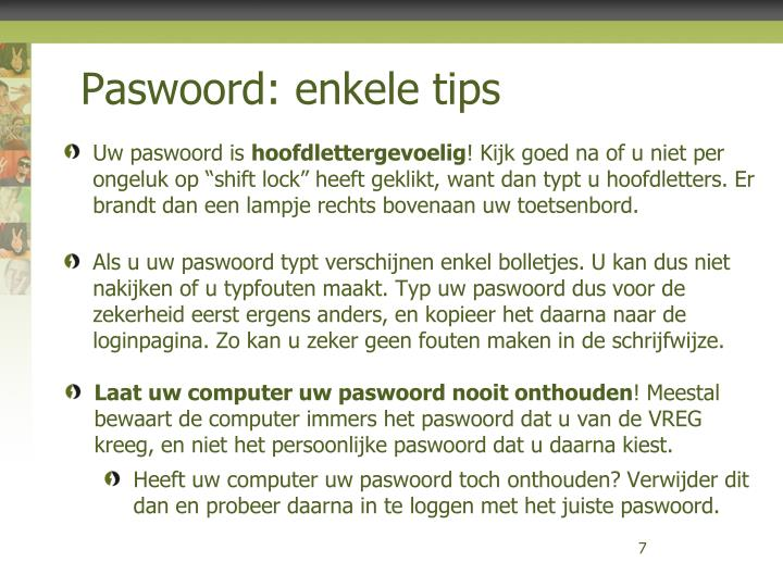 Paswoord: enkele tips
