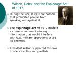 wilson debs and the espionage act of 1917