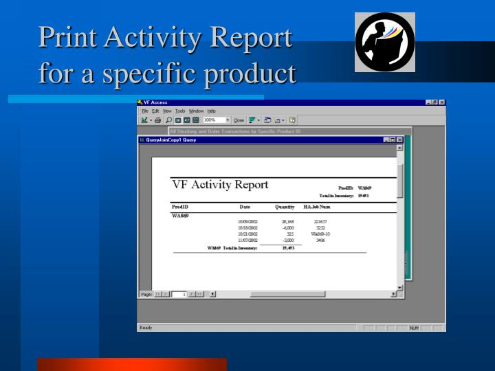 Print activity report for a specific product